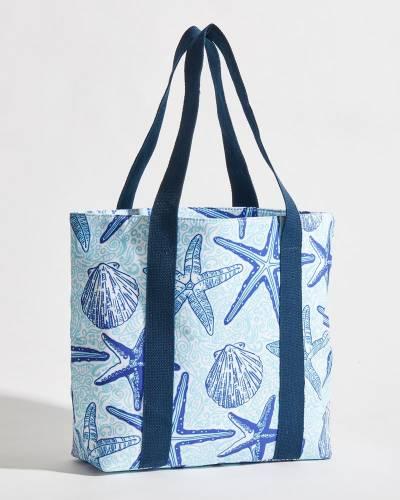 Starfish Print Tote Bag in Blue