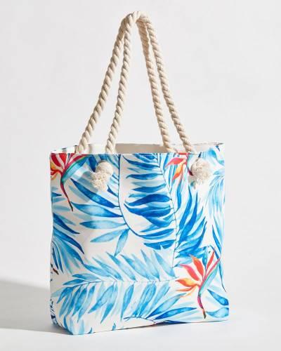 Tropical Palm Print Rope Handle Tote Bag