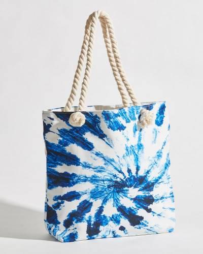 Swirled Tie Dye Rope Handle Beach Bag