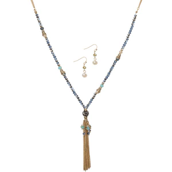 Mia and Tess Chain Tassel Necklace and Earrings Set