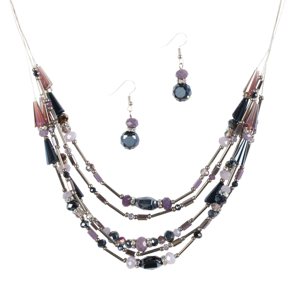 Mia and Tess Beaded Illusion Necklace and Earrings Set