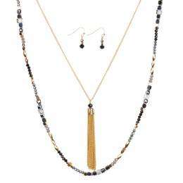 Mia and Tess Two-Layer Beaded Tassel Necklace