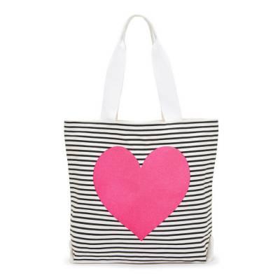 Striped Neon Heart Tote