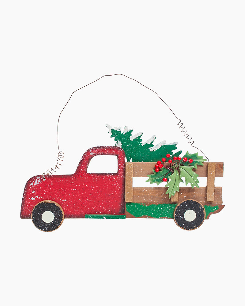 Christmas Red Truck.Merry Christmas Red Truck Hanging Sign