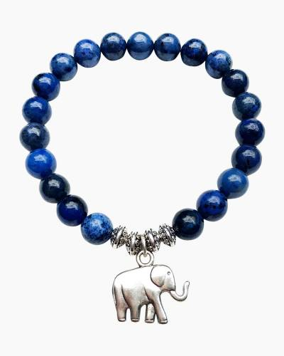 Silver Elephant Beaded Bracelet