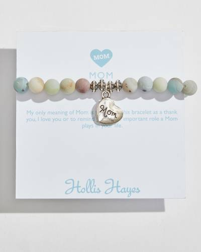 Silver Mom Heart Beaded Bracelet