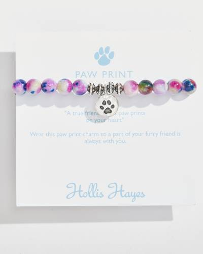 Silver Paw Print Beaded Bracelet