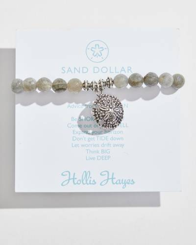 Silver Sand Dollar Beaded Bracelet in Labradorite