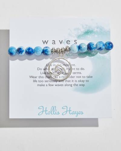 Silver Wave Beaded Bracelet in Cobalt Marble