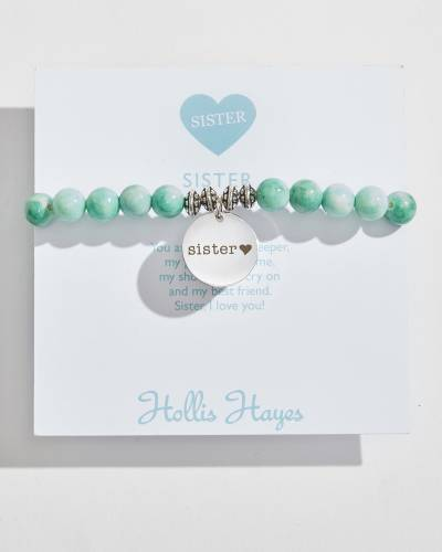 Sister Beaded Bracelet in Seafoam Marble