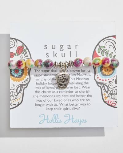 Sugar Skull Beaded Bracelet in Hawaiian Rainbow Jade