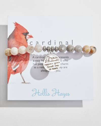 Cardinal Beaded Bracelet in Silver Leaf Semiprecious Stones