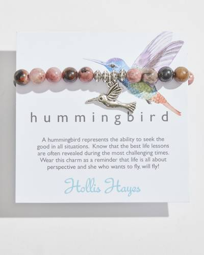 Hummingbird Beaded Bracelet in Rhodonite Semiprecious Stones