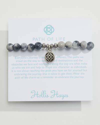 Indigo and Rainbow Jade Beaded Path of Life Charm Bracelet