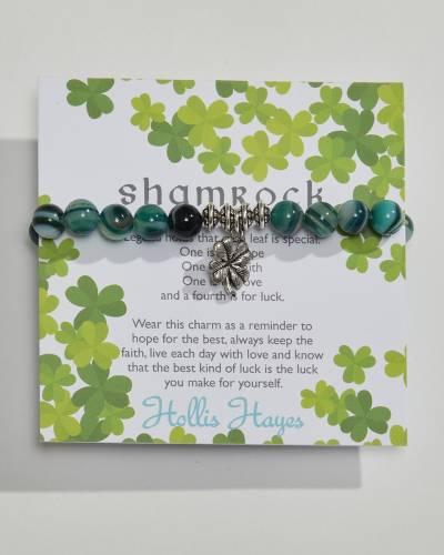 Green Agate Beaded Shamrock Charm Bracelet