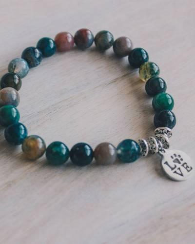 Paw Print Love Beaded Bracelet in Indian Agate