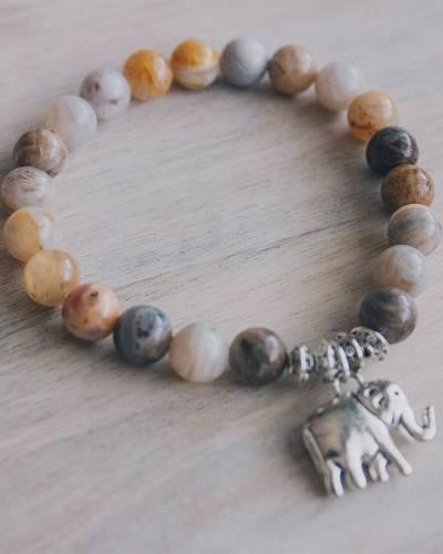 Elephant Beaded Bracelet in Silver Leaf Jasper