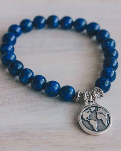 World Beaded Bracelet in Midnight Jasper