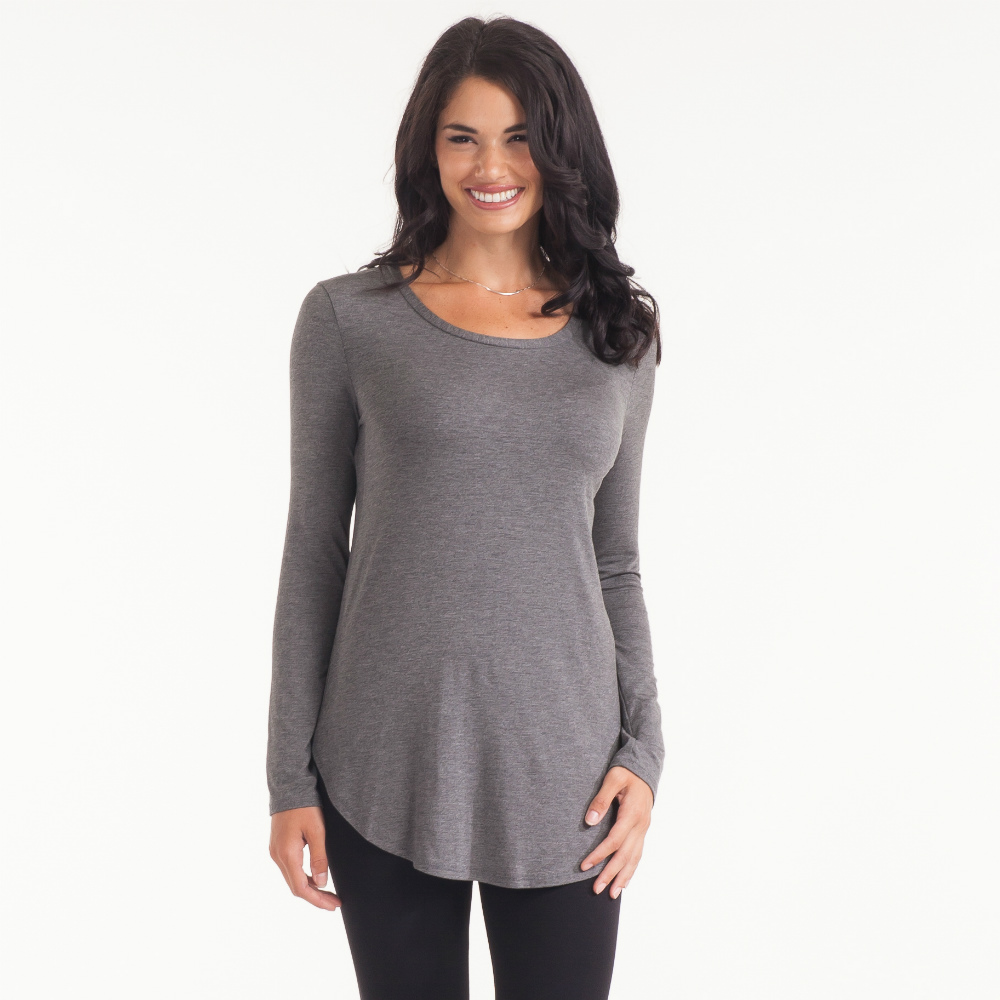Emma's Closet Basic Scoop Neck Tee in Charcoal