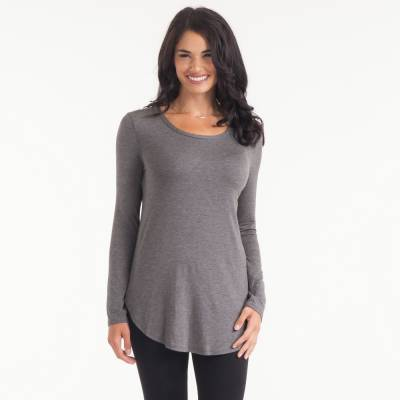 Basic Scoop Neck Tee in Charcoal