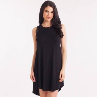 Crochet Trim Dress in Black