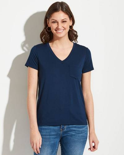 Exclusive V-Neck Tee in Navy