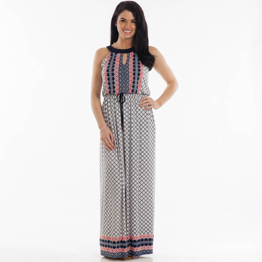 Gilli Patterned Maxi Dress in Navy and Pink