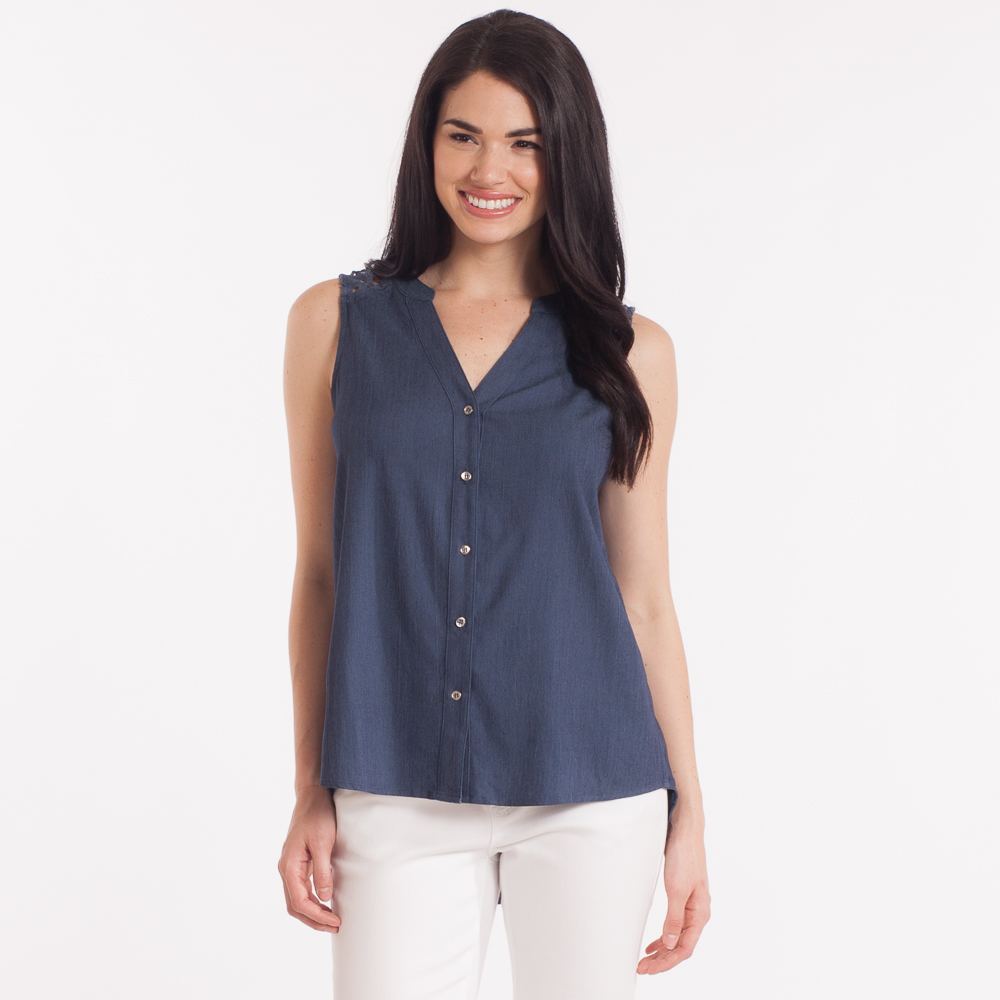 Le Lis Lace-Back Tunic in Denim Blue