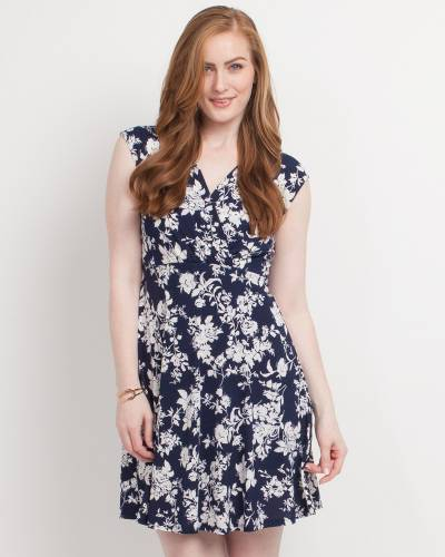 Exclusive Floral Print Cross V-Neck Dress in Navy