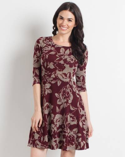 Exclusive Grey and Burgundy Floral A-Line Dress