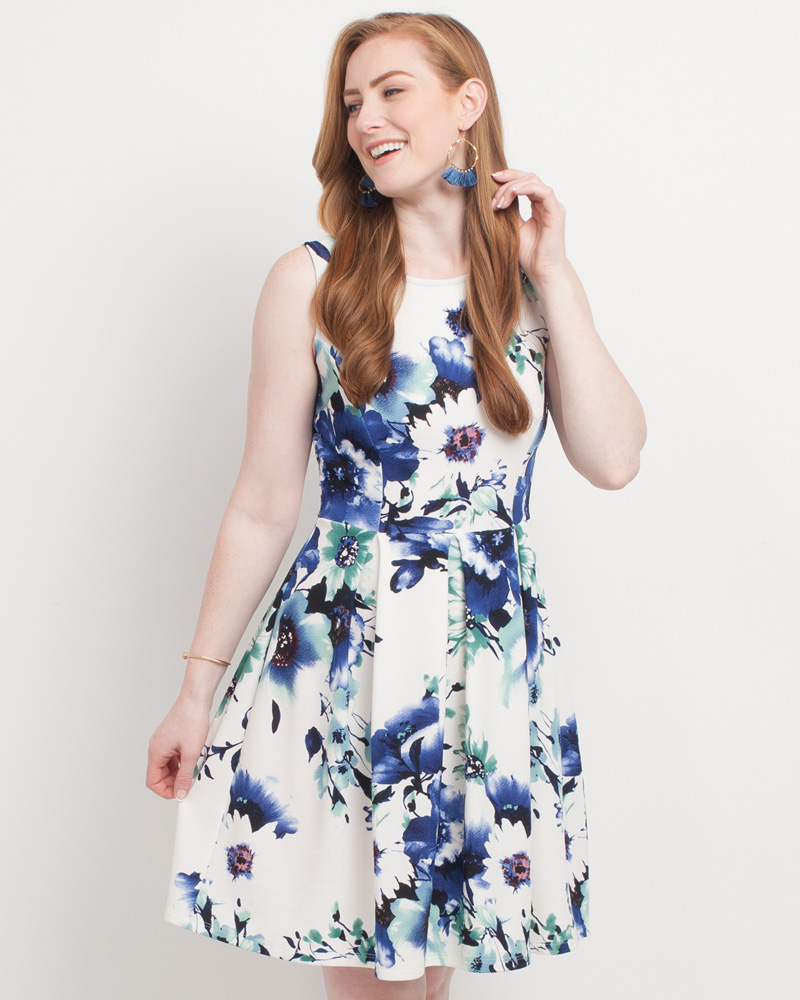 5ebb6c32af Mia + Tess Designs ™ Exclusive Floral Print A-Line Dress | The Paper Store