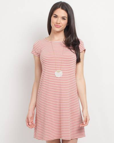 Exclusive Cross Back Striped Dress in Pink