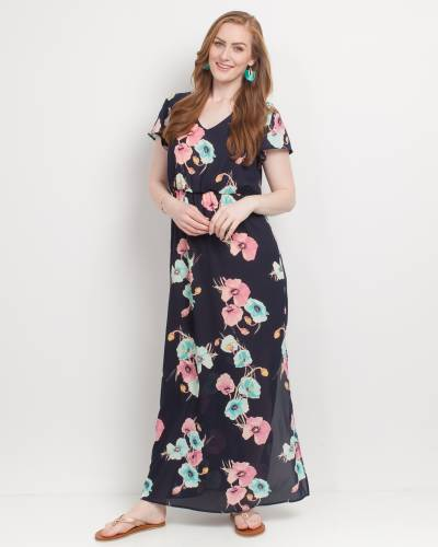Exclusive Floral Print Maxi Dress in Navy