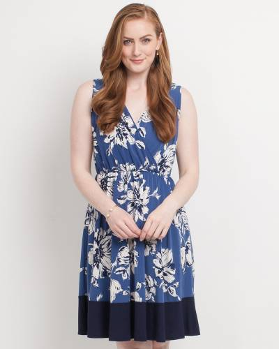 Exclusive Floral Print Cross V-Neck Dress in Blue