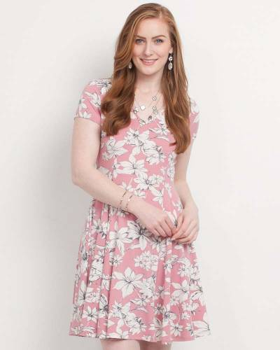 Exclusive Pink Floral Fit and Flare Dress