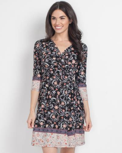 Exclusive Floral Wrap Front Dress