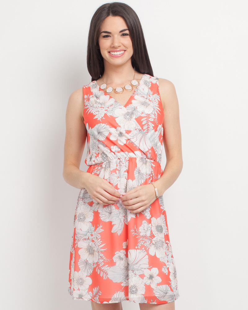691f42bf95 Mia + Tess Designs ™ Exclusive Floral Print Cross V-Neck Dress in Coral |  The Paper Store