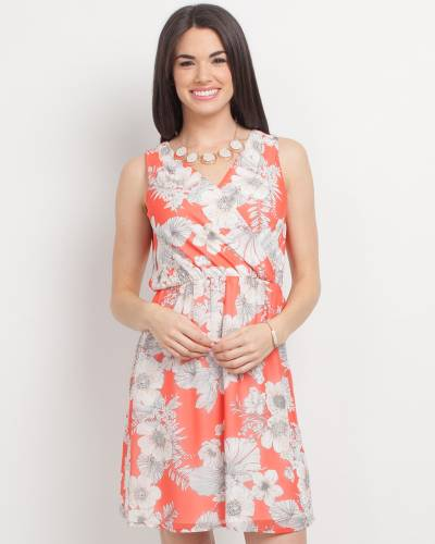 Exclusive Floral Print Cross V-Neck Dress in Coral