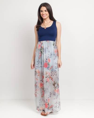Exclusive Floral Print Cross Back Maxi Dress