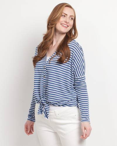 Exclusive Tie-Front Striped Top in Blue and White