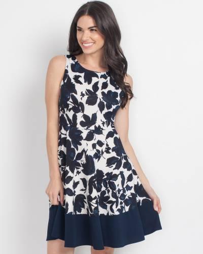 Exclusive Leaf Print Cross-Back Dress