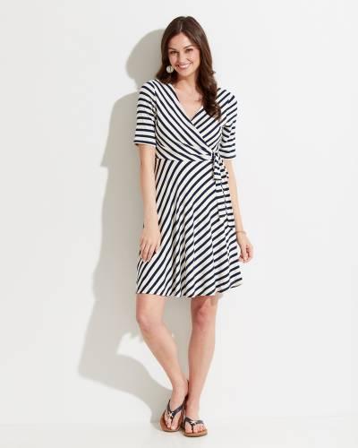Striped Tie-Waist Wrap Dress