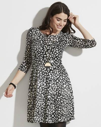 Exclusive Black and White Animal Print A-Line Dress