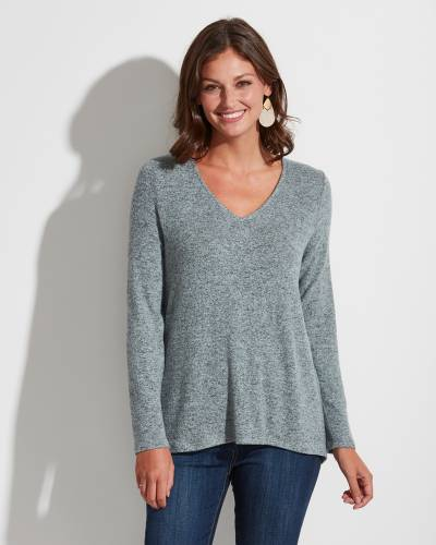 Exclusive Long Sleeve V-Neck Top in Blue Steel