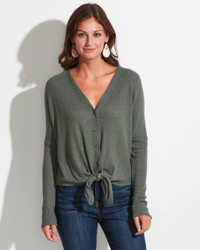 Exclusive Button-Down Tie Front Top in Green