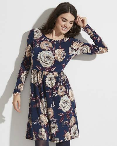 Exclusive Floral Print Dress in Blue