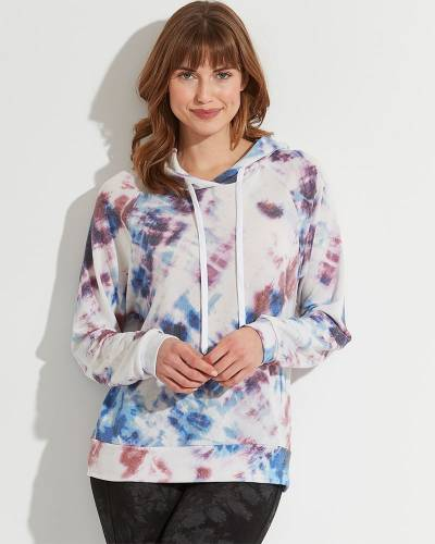 Exclusive Tie-Dye Hoodie in White, Purple, and Blue