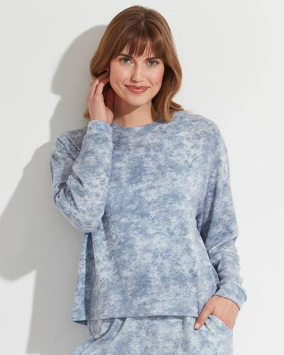 Exclusive Garment Dyed Pullover Top in Blue
