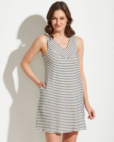 Exclusive Striped A-Line Dress