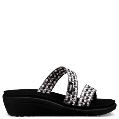 Women's Voya Wedge Sandals in Black and White